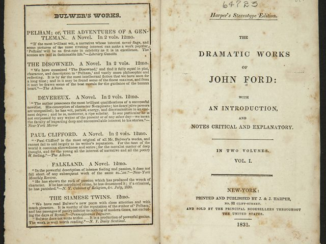 [The Cover Page of Ford's Plays]