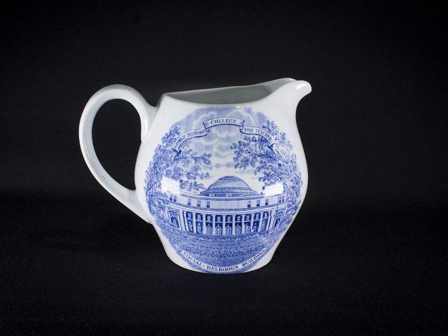 [Blue and White Peabody College Transferware Ceramic Pitcher]