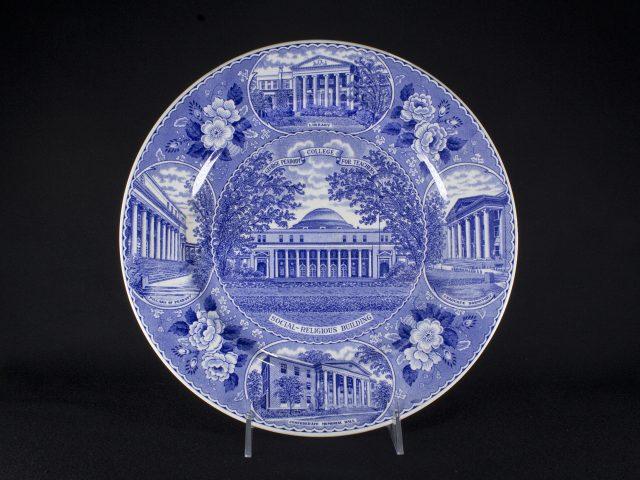 [Blue and White Peabody College Transferware Ceramic Plate]