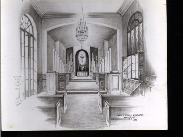 [Architect's Drawing of the Hume Chapel in the Social Religious Building]