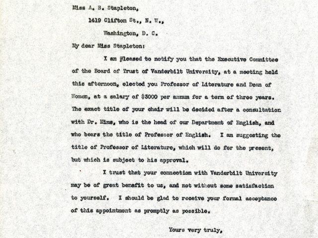 Ada Bell Stapleton's Hire Letter