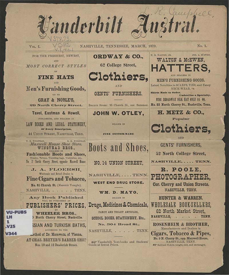 Vanderbilt Austral Vol 1, No 1, March 1879