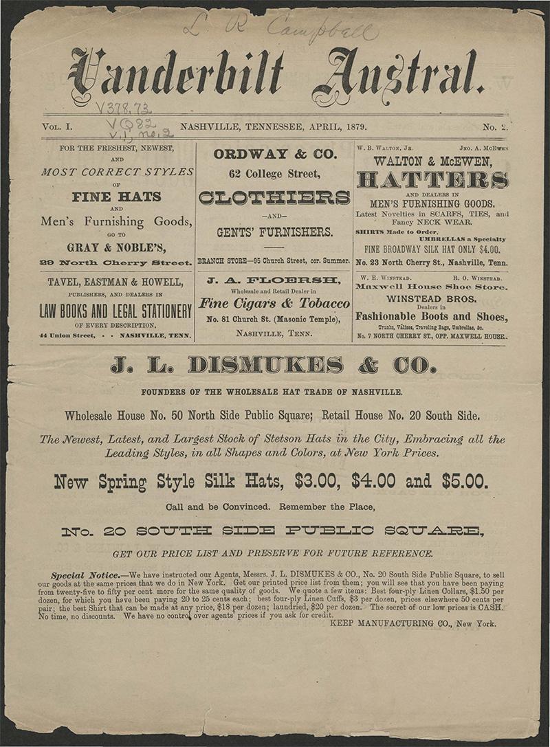 Vanderbilt Austral Vol 1, No 2, April 1879