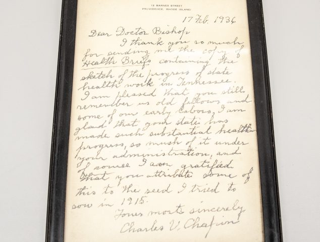 Framed Letter from Dr. Chapin to Dr. Bishop