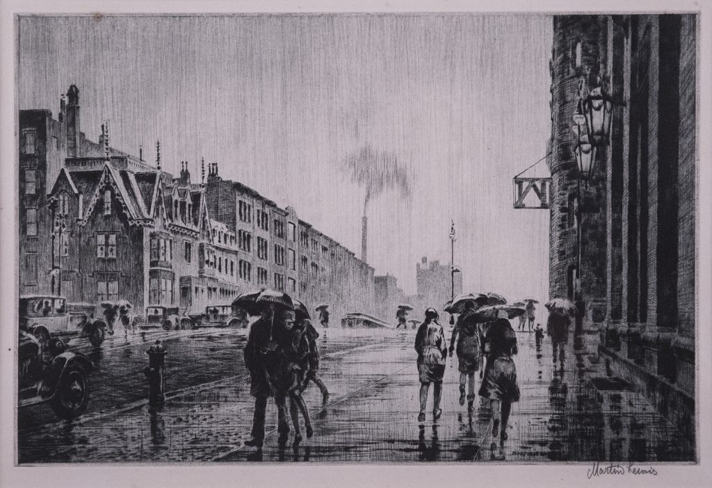 Martin Lewis (1881-1962) Rain on Murray Hill (1928) Drypoint, 7 7/8 × 11 7/8 (20 × 30 cm) Collection of Jack May