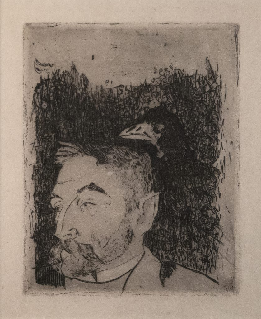 A bust-length portrait of a bearded man looking to his right with a raven perched on shoulder.