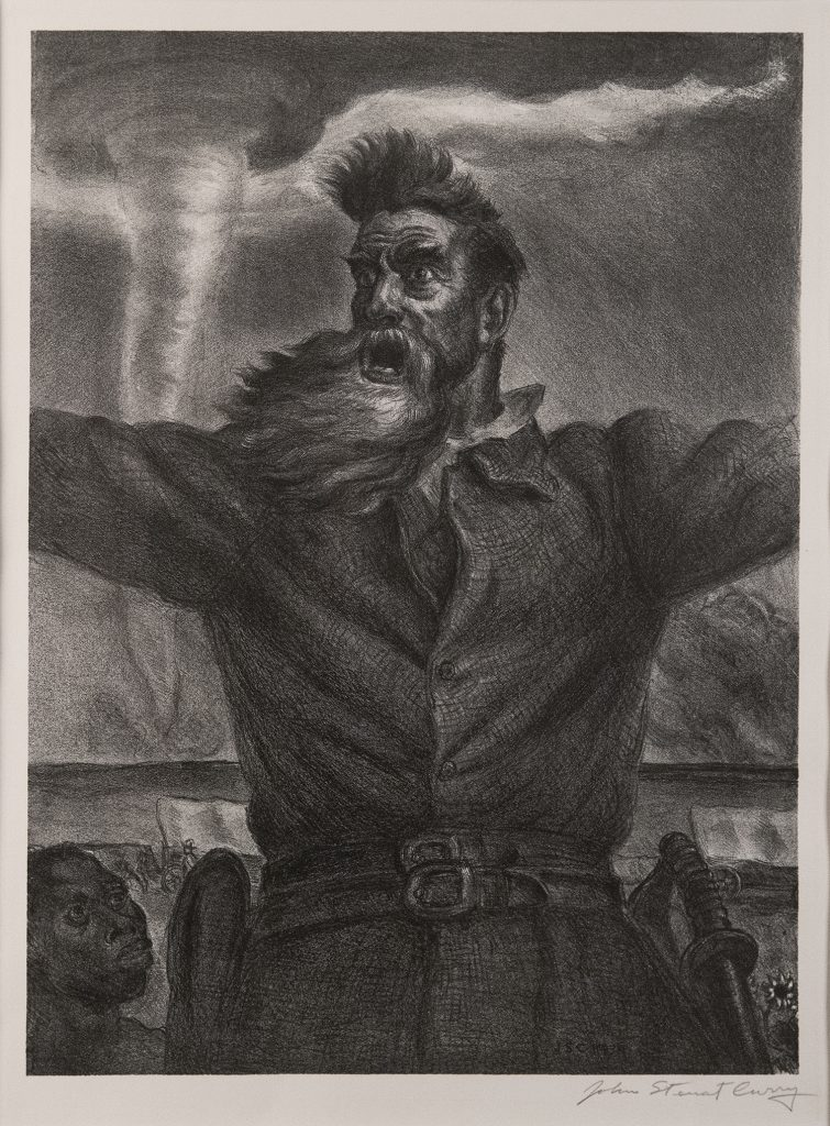 A half-length portrait of a bearded man extending his arms with a tornado behind him; the head of a smaller, younger man is on his lower right.