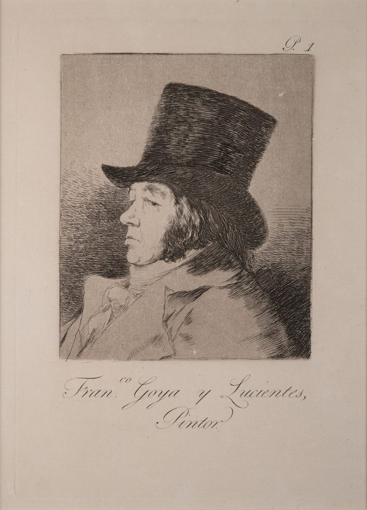 A middle-aged man in profile, wearing a top hat, looking at viewer out of the corner of his eye.