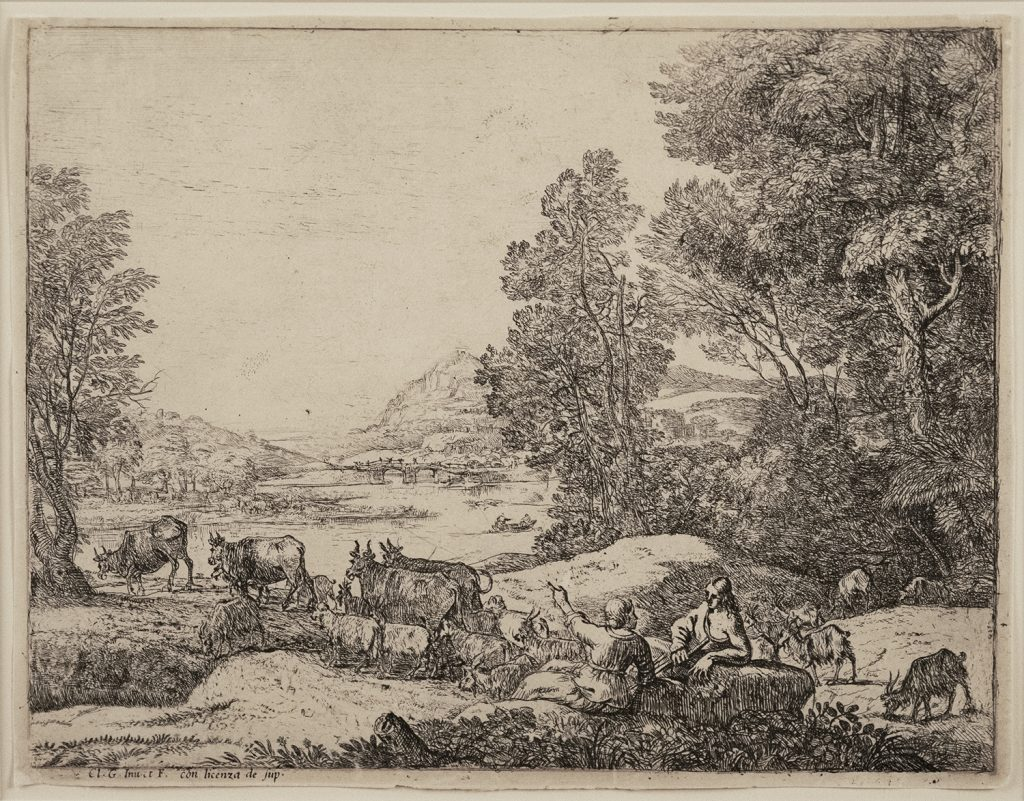 Landscape scene with sky, hills, trees, and water. Two figures sit and speak as cows amble around them.