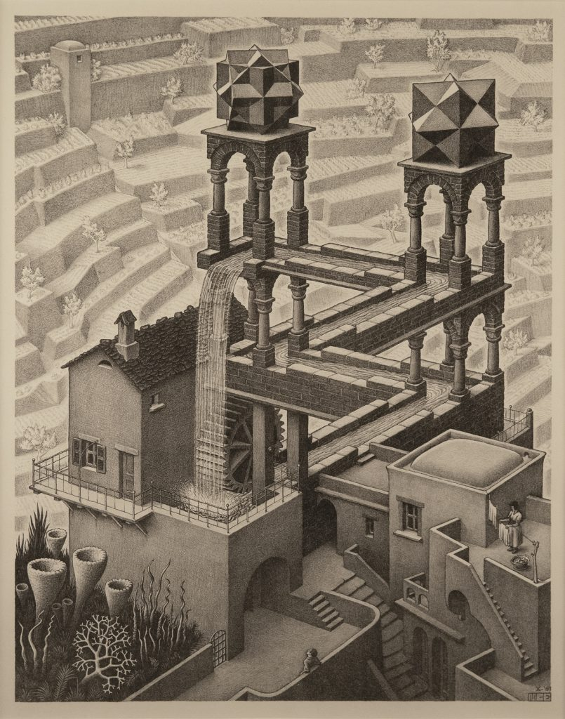 Two towers rise against a maze-like background of terraces. A waterfall flows from the towers, which are topped with complex polyhedrons. A water wheel turns at the base of the structure.