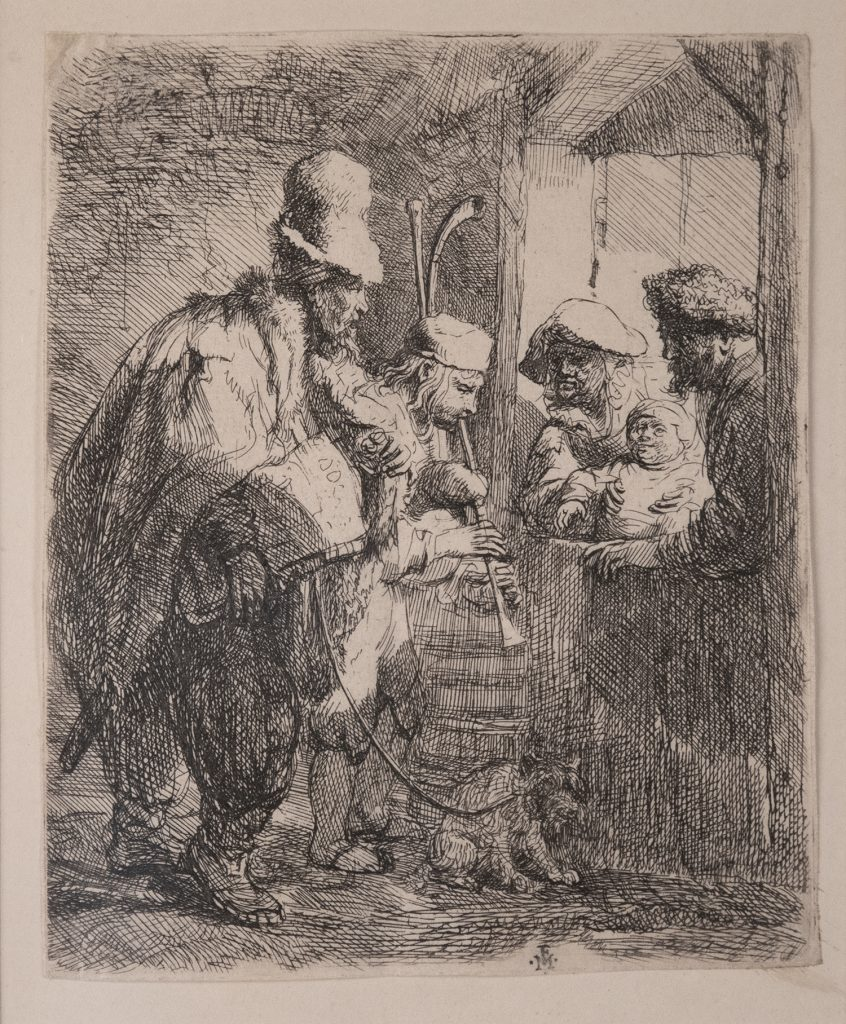 On the left, two musicians, and their dog on a leash, play their instruments. Standing in the doorway on the right, a mother, father, and their child watch.
