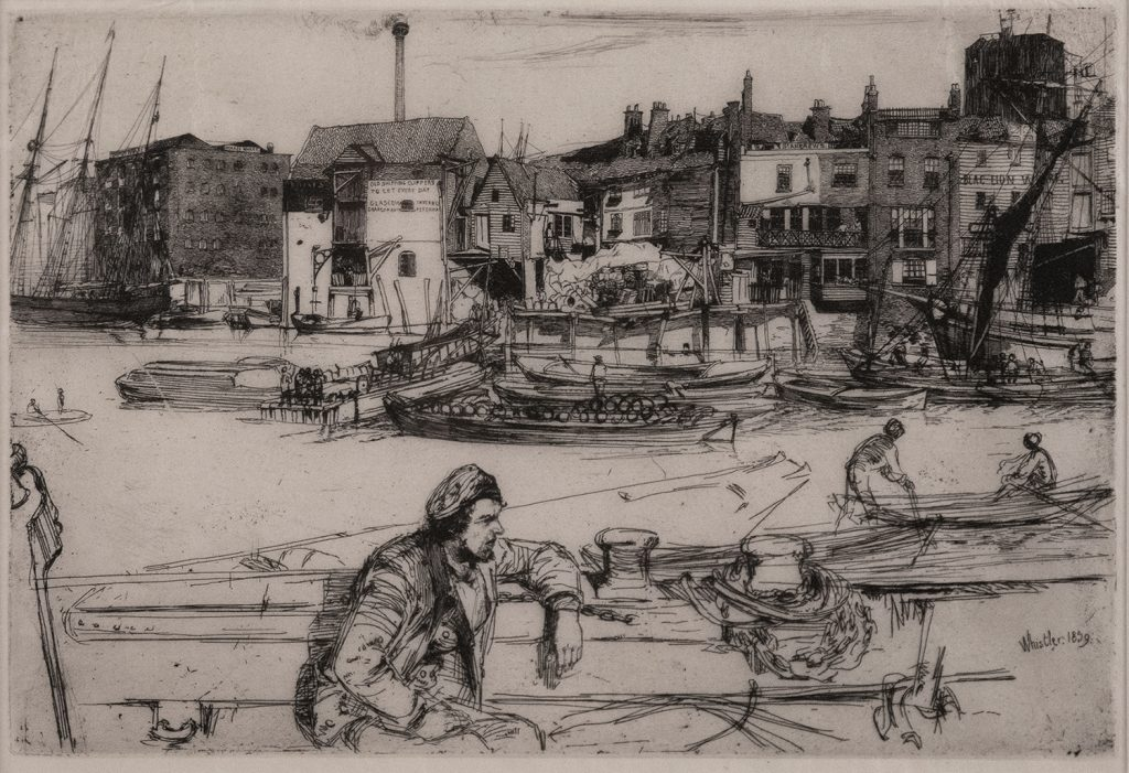 James A. McNeill Whistler (1834-1903), Black Lion Wharf (1859). From the collection of Lynn May. Etching