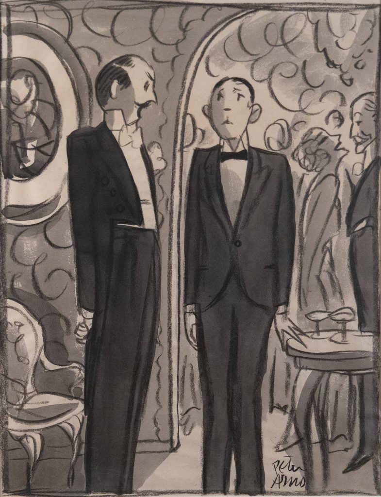 Standing against the backdrop of a smoke-filled, elegant party,  a  mustachioed gentleman talks down to a nervous looking young man.