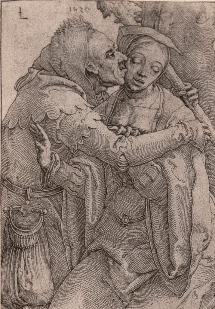 An old man wearing a jester's outfit embraces a young woman and places a kiss on her cheek. An exaggeratedly large coin purse hangs from the man's belt.