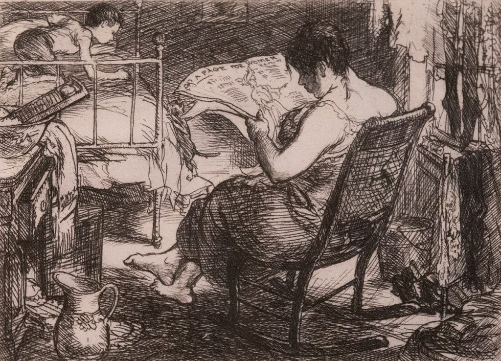 Sitting with her back to the viewer, a woman in a rocking chair reads a newspaper. An unwatched child crawls on the bed in front of her.