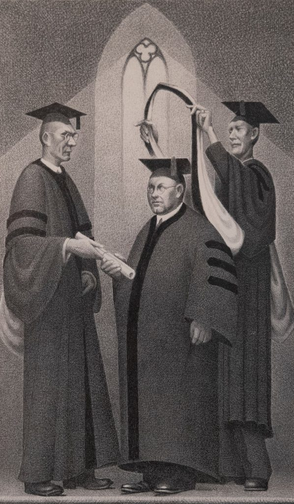 A squat, rotund man wearing doctoral robes and round glasses stands between two tall men also wearing academic regalia. One outside figure hands the central man a rolled diploma while the other bestows a stole.