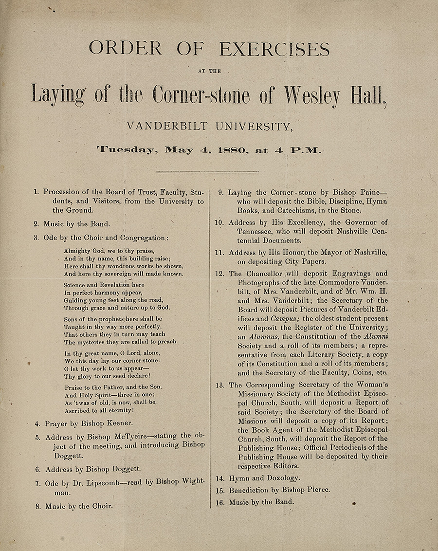 [Laying of the Corner-stone of Wesley Hall]