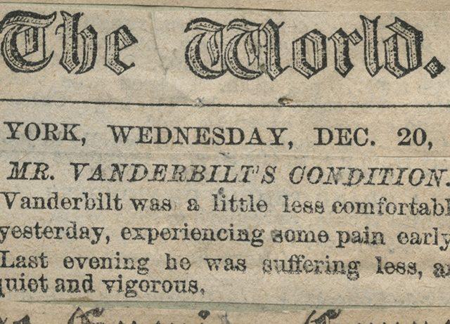 [Mr. Vanderbilt's Condition]