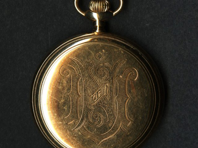 [Pocket watch case inscribed with University of Nashville initials belonging to Wickliffe Rose]