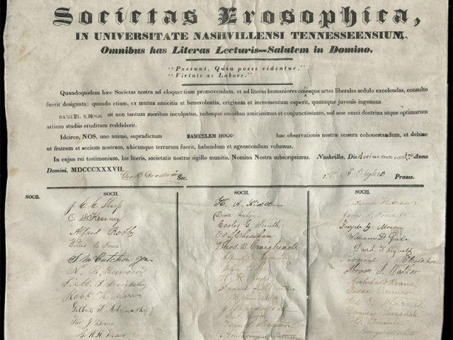 [Erosophian Literary Society Certificate for Samuel E. Hogg]